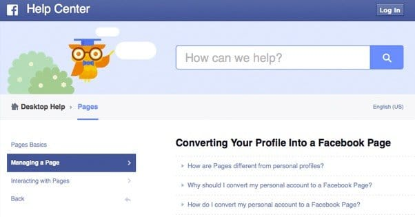 Converting to a Facebook Page