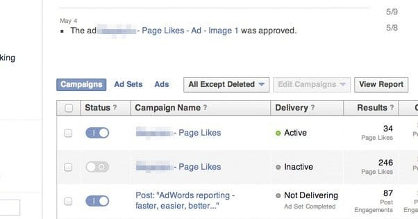 Facebook Ad Campaign Groups