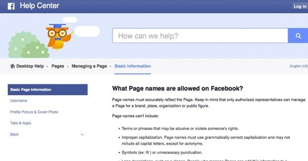 how to change the page name in facebook