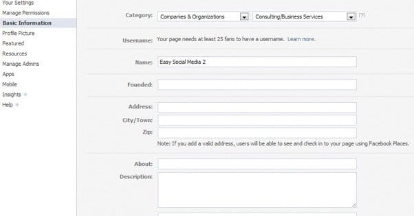 Facebook Page Information Input