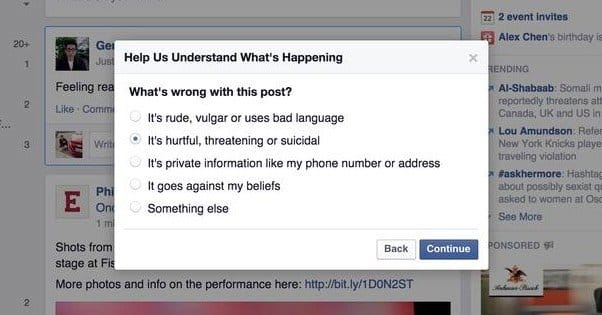 Reporting a Facebook Post