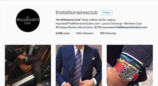 Club des milliardaires Instagram