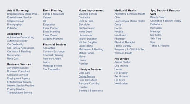 Facebook Example List of Categories