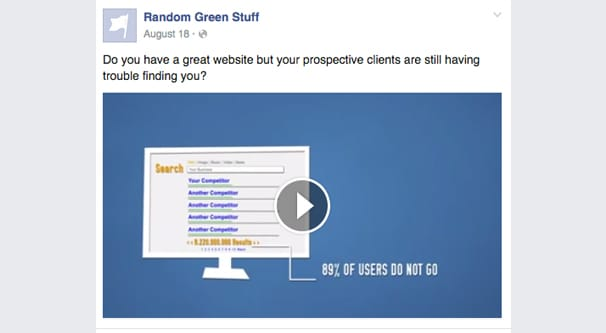 Facebook Video Post Example