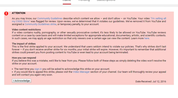 YouTube Account Strike Example
