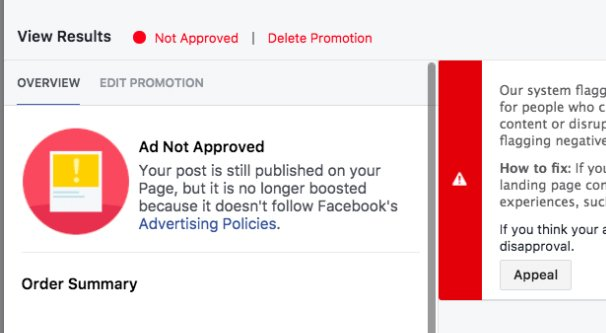 Ad Not Approved Facebook