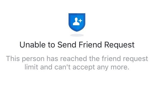 Limit Unable to Send Friend Request Warning