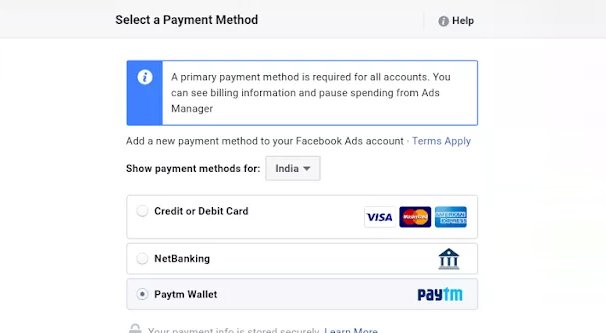 Primary Payment Source on Facebook