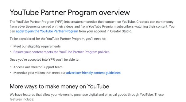 YouTube Partner Program Overview