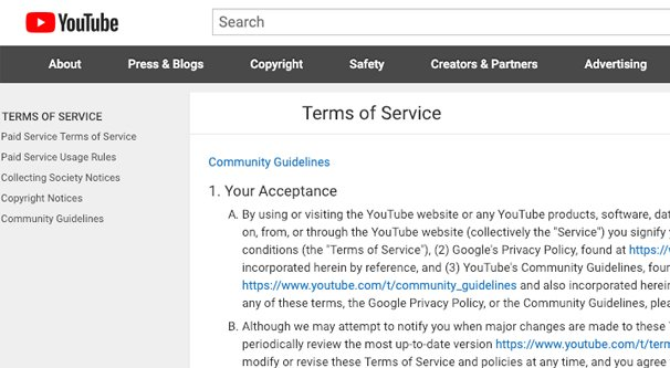 YouTube Terms Page