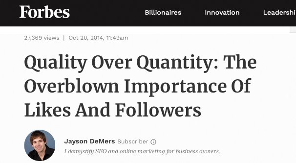 Likes and Followers Overblown Forbes