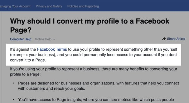 Facebook Terms on Profile for Business