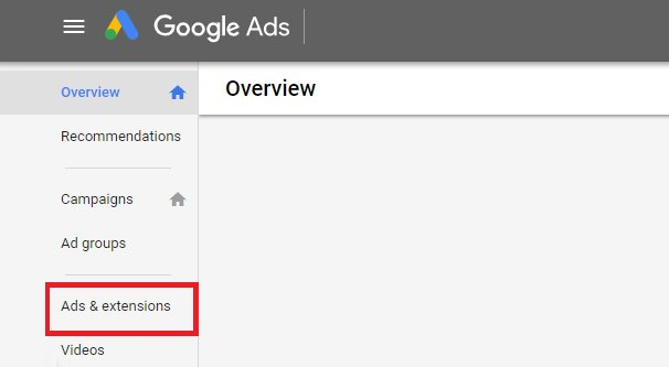 Ads and Extensions Tab