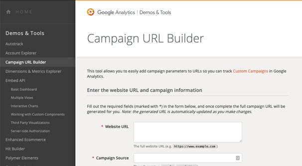 Campaign URL Builder Page