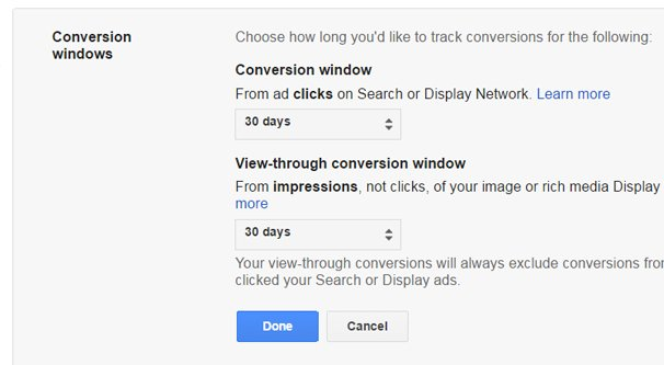 Setting Your Conversion Window