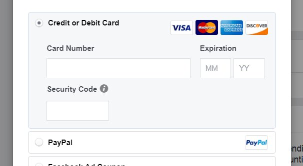 Manual Payment on Facebook