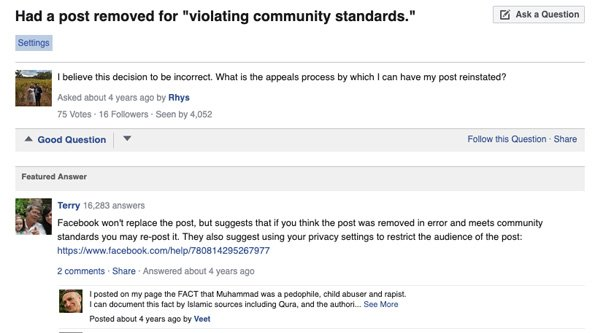 Facebook Help Article on Removed Posts