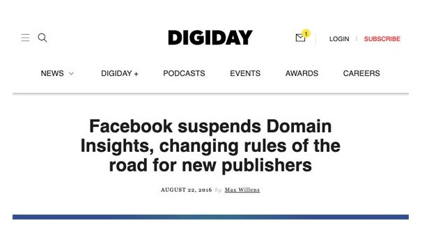 FB Suspends Domain Insights